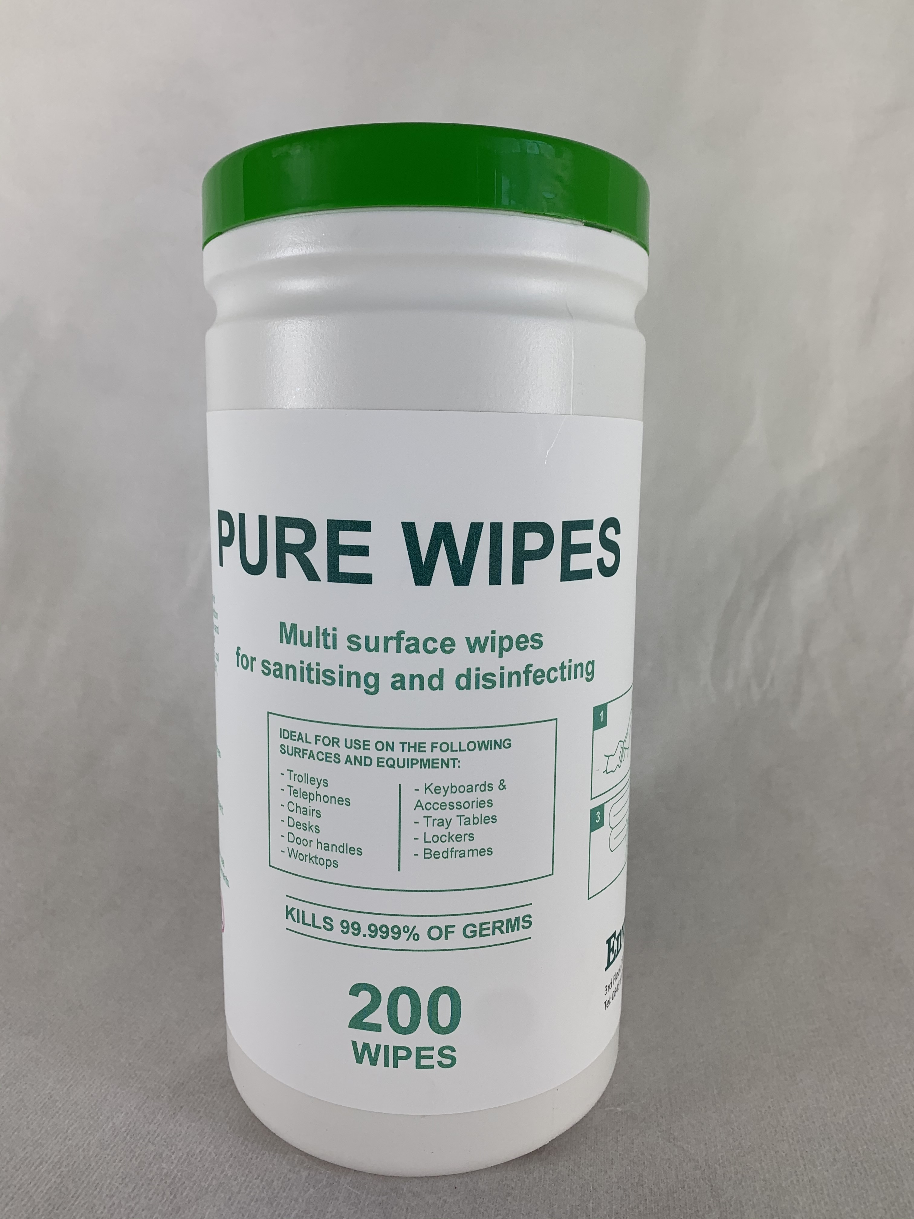 Alcohol Wipes Pure 70% IPA General Surface 200 Wipes - Helps protect against – Coronavirus, Covid 19