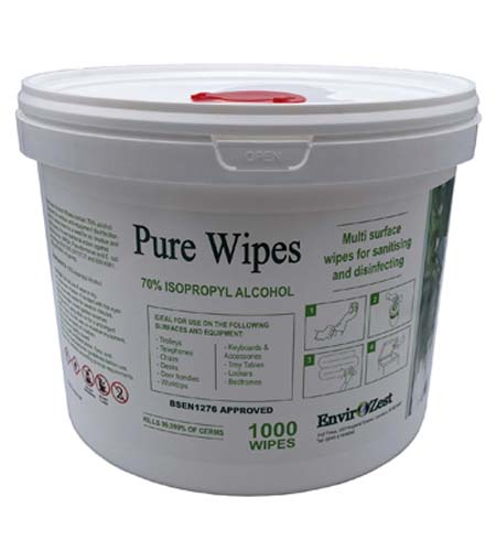 Alcohol Wipes Pure 70% Alcohol Tub of 1000 Wipes £ 26.50
