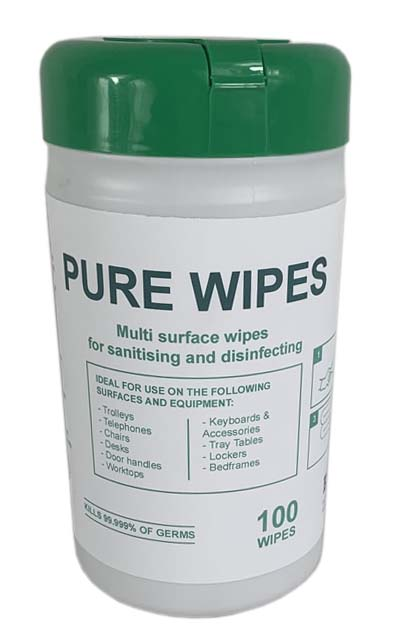 1 Box Of 10 Pure 70% Alcohol Wipes 100 wipes £ 10.00 per tub