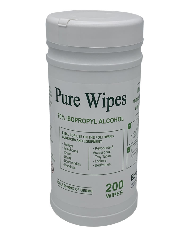 I Box Of 10 70% Isopropyl Wipes At £ 12.50 Per Tub of 200 Large wipes 20cm x 20cm £ 125 per box